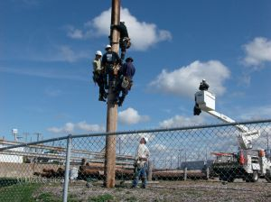 CPP Linemen prepare for the Rodeo Demonstration. (Photo by Yalinda Moore)
