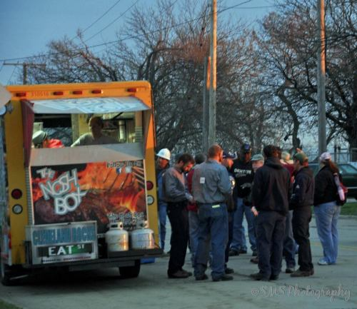 Preparations begin in the early morning hours and Cleveland's Nosh Box was on hand with food.