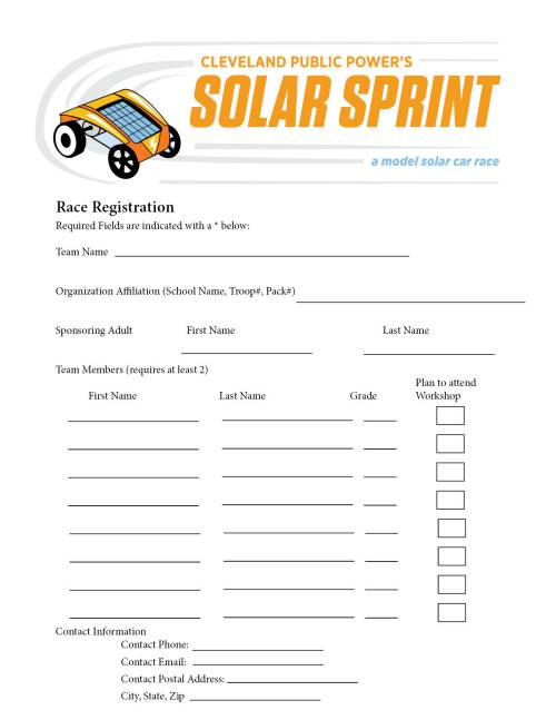 Print this form to register for the Solar Sprint.