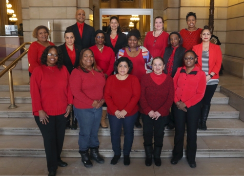 Cleveland Public Power staff members don their red in support of Go Red For Women! (Photo by Williams Rieter, Chief Photographer)