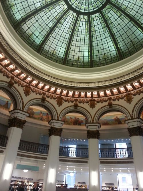 The beautiful architecture that is now home to Heinen's Grocery store in the heart of downtown Cleveland.